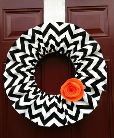 Halloween Chevron Wreath.  Or w houndstooth and orange flower