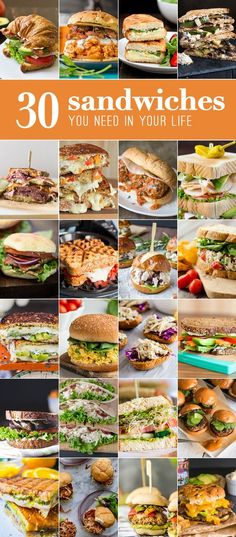 30 Sandwiches! These easy sandwich recipes are some of my favorite meals! Everything from meatball subs to creative grilled cheese recipes. ALL THE BEST SANDWICH RECIPES!
