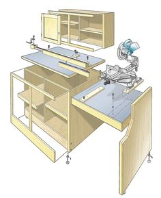 Miter Saw Workcenter Woodworking Plan. This woodworking plan appeared in ShopNotes magazine No. 82.