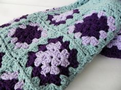 Vintage Granny Square Crochet Afghan Blanket  by OneMenagerieLane