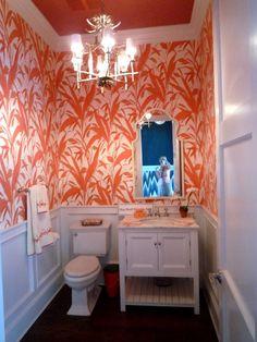 wallpaper in bathroom Powder Room Wallpaper, Bathroom Wallpaper, Of Wallpaper, Wallpaper Ideas, Bathroom Spa, Master Bathroom, Bathroom Ideas, Driftwood Lamp, Amazing Spaces