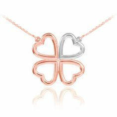 14k Two-Tone Rose Gold Shamrock Necklace (16 Inches)