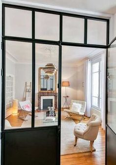 Verrière appartement haussmannien - Davis&Co - Best Pins Live Attic Bedrooms, Interior Decorating, Interior Design, Cozy Room, Decoration, Home And Living, Living Spaces, Sweet Home, New Homes