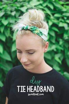 DIY Tie Headband by Jenny of Sweet Teal What is a way to use of scraps of fabric? A tie headband! Use this two-step tutorial to learn how to make the most out of the scraps. Sewing Headbands, Fabric Headbands, Flower Headbands, Braided Headbands, Kids Headbands, Headband Tutorial, Headband Pattern, Bow Tutorial, Flower Tutorial