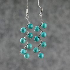 Turquoise beaded dangle earrings. Craft ideas from LC.Pandahall.com  #pandahall