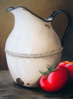 Katie Grobler – Caramic Jugs (various) Decoupage Vintage, Painting Still Life, Still Life Art, Stella Art, Art Walk, Enamel Paint, Fruit Art, Coffee Art, Kitchen Art