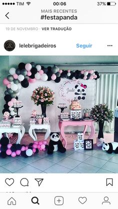 Jay D'Event Stylist By:arncamugao design. Panda Birthday Party, Panda Party, Bear Party, 10th Birthday Parties, Baby Birthday, Birthday Party Decorations, Baby Shower Decorations, Party Themes, Party Ideas