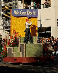 ROSIE the Riveter : We Can Do It ! (Prayitno / Thank you for (7 millions +) views) Tags: world california ca 2 roses opportunity woman floral rose airplane workers women war aircraft rosie wwii decoration bank wells parade tournament ii rights worker pasadena float lib liberation fargo wecandoit equal riveter 2014 Homecoming Floats, Homecoming Parade, Softball, Volleyball, Christmas Parade Floats, Pep Rally, Rosie The Riveter, We Can Do It, American Revolution
