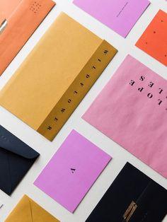 Hot Black Stationary Ideas > Multi Colour Envelopes in bright, bold, brand colours.Hot Black Stationary Ideas > Multi Colour Envelopes in bright, bold, brand colours. Font Design, Identity Design, Typography Design, Design Art, Identity Branding, Typography Fonts, Visual Identity, Corporate Design, Print Packaging