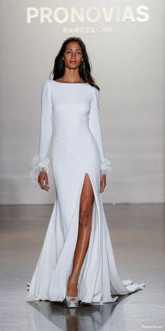 pronovias 2017 bridal long sleeves bateau neck sheath wedding dress (nuria) mv slit skirt train #sheath #weddingdress #weddings