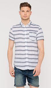 Linen shirt with stripes in white