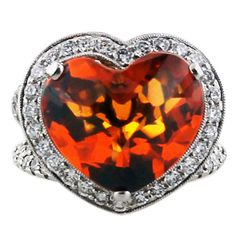 1stdibs | White Gold Diamond Citrine Large Heart Cocktail Ring