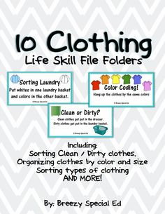 10 clothing file folders for special education