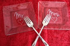 Mr. and Mrs. Etched Glass Dessert  Wedding by CrystalCreekBoutique, $38.95