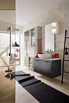Fascinating Bathroom With Oversized Bath Rugs : Bathroom Fashionable Biege Bathroom With Black Vanity And Oversized Bath Rugs
