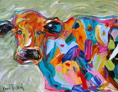 Fine art Print Abstract Cow 11 x 14 from oil painting by Karen Tarlton - impressionistic whimsical art