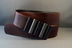 Vintage Brown Leather Belt with Fashion Buckle by 4MLeatherDesign, $77.00