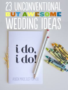 23 Unconventional But Awesome Wedding Ideas - cue cards for ceremony &coloring books for kids! Wedding Tips, Diy Wedding, Wedding Reception, Dream Wedding, Wedding Day, Wedding Stuff, Wedding Picnic, Wedding Venues, Wedding Photos