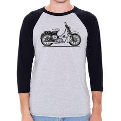 Honda Cub Motorcycle Men's 3/4 Sleeve, Baseball Shirt