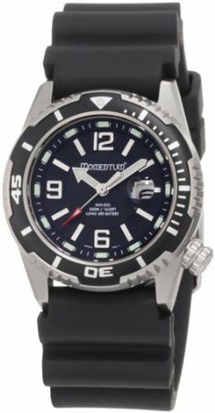 Momentum Women's 1M-DV51B1 M50 DSS Black Dial Black Rubber Dive Watch Momentum. $294.95. 316l-stainless-steel case; black-sunray dial; date function. Synthetic-sapphire crystal. Quality Japanese-quartz movement. Case diameter: 34.89 mm. Water-resistant to 1640 feet (500 M)