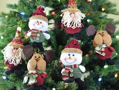 Hanging Christmas Ornament Set Plush Xmas Tree Ornaments Santa Claus Snowman  #FestiveSeason