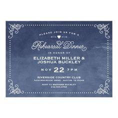 Elegant Ombre Vintage Script Rehearsal Dinner Card