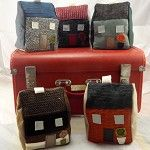 Recycled red, grey and black Fabric house door stop/doorstop, decoration, ..etc - by UrbanTreehouse on madeit