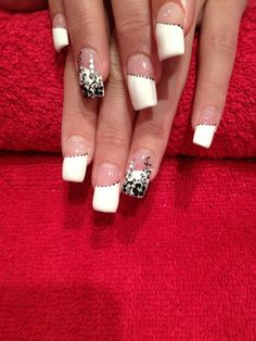 Acrylic Nails. French Manicure. Gel Overlay.  Free Hand Nail Art. Black Trailing Flowers with diamantes.