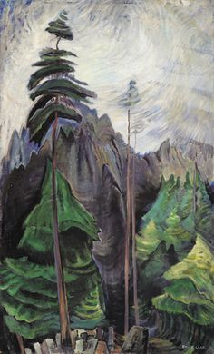 Example of painting in the style of Emily Carr. to go with kinderart lesson on Emily Carr Tom Thomson, Canadian Painters, Canadian Artists, Canvas Painting Landscape, Landscape Art, Landscape Model, Painting Canvas, Landscape Architecture, Forest Illustration