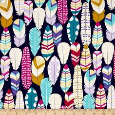 Michael Miller Arrow Flight Metallic Plucked Midnight from @fabricdotcom  From Michael Miller, this cotton print is perfect for quilting, apparel and home decor accents. Colors include grey, navy, pink, turquoise, purple, gold and white with gold metallic accents.