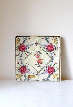 Vintage cotton cross stitch table linen/ cream floral