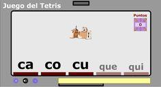 """El Juego del Tetris se aplica en este caso a la Ortografía para afianzar el uso de """"c"""" y de """"q"""" para representar el sonido """"k"""". Mediante imágenes del vocabulario usual, que hay que colocar con las teclas de desplazamiento en las sílabas correspondientes (ca, co , cu, que, qui), se suman puntos y se accede a superiores niveles de dificultad. La regla ortográfica se consolida en 3º de Primaria, pero se puede jugar a una edad anterior."""