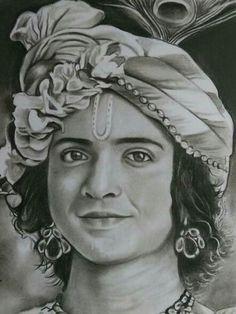 Radha Krishna Sketch, Krishna Drawing, Krishna Painting, Krishna Art, Hare Krishna, Krishna Names, Krishna Songs, Girl Drawing Sketches, Art Drawings Sketches Simple
