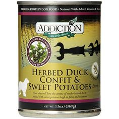 Herbed Duck Confit and Sweet Potatoes EntrÃÂe- Dog Food (12/13 Ounce Cans) by Addiction Pet Foods -- Do you want additional info? Click on the image. (This is an affiliate link and I receive a commission for the sales)