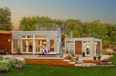 This Blu Homes 2-bedroom, 1-bath design (Origin) has 1,944 square feet of living space, and starts at about $125,000 complete, or $95,000 for the shell alone.