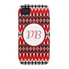 Elegant tribal rhombus native pattern duogram iPhone 4/4S cases