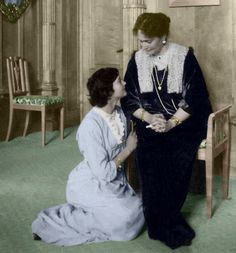 Beautiful picture of Empress Alexandra and Grand Duchess Tatiana.  Of all four girls Tatiana personifies the dutiful and patient daughter. She is seen here at her mothers knee. This was originally a larger picture of the room but I cropped it to frame the subjects better.