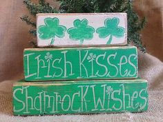 Primitive-St-Patricks-Day-Irish-Kisses-Shamrock-Wishes-Shelf-Sitter-Wood-Blocks