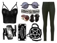 Stay Evil by godofsadnessvodka on Polyvore featuring Frame Denim, Casetify and Maison Fabre