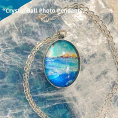 One Crystal Ball Photo Pendant / 24 in. Chain Necklace / Quartz Crystal Ball / Energy Jewelry / Healing Stones / Reiki Jewelry / P2