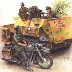 """Es 1944, un soldado de la 11 División SS Panzergrenadier """"Nordland"""" hace entrega de una carta, desde un camión semioruga, a un mensajero de su división que monta una motocicleta DKW NZ 350-1."""