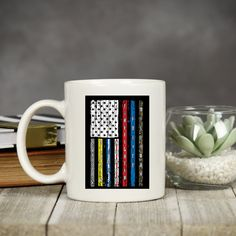 Patriotic first responder flag coffee mug, great gift for the essential worker, military, police officer, firefighter, nurses, ems workers Funny Coffee Mugs, Coffee Humor, Coffee Quotes, My Coffee, Military Police, Police Officer, Inspirational Bible Quotes, Employee Gifts, Mugs For Men