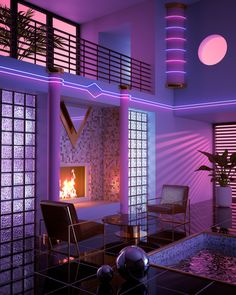 Key Largo Art Print by Dreamfibre - X-Small Cyberpunk Aesthetic, Purple Aesthetic, Retro Aesthetic, New Retro Wave, Retro Waves, Neon Room, Futuristic Interior, Retro Futurism, At Home Store
