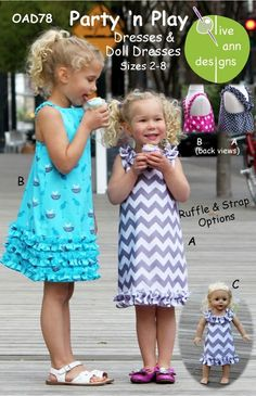 Olive Ann Designs, Party n' Play Dress Sewing Pattern, Girl's sizes 2-8 years, Doll Dress Pattern Included. $10.00, via Etsy.