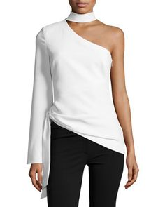 Briah+One-Shoulder+Tie-Side+Top+by+cinq+a+sept+at+Neiman+Marcus.
