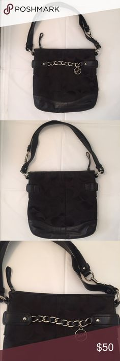 "Coach Crossbody Bag Black This is a Coach Crossbody bag in excellent condition. Pattern is black logo canvas. 11""H x 11""W. Strap is 43"" long, but can be fastened in half for shorter strap. Non-smoking home. Has one large compartment with interior zip pocket and two open interior pockets. Coach Bags Crossbody Bags"