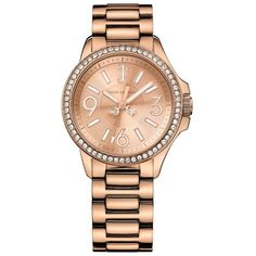 Ladies rose pave bezel watch (1.165 BRL) ❤ liked on Polyvore featuring  jewelry 478450283353