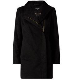 Black Brushed Funnel Coat