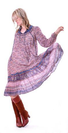 Rare Indian Gauze Hippie Dress | Damsel Vintage - 70s Vintage Fashion