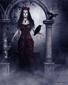 "Halloween Art, Samhain Art, Edgar Allan Poe, Nevermore, Raven Art, Sugar Doll, Sugar Skull, Dia De Los Muertos - ""Evermore"" by Summer Rae"